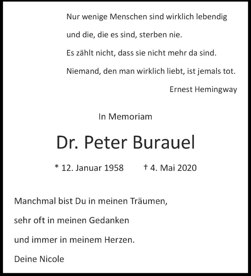 Traueranzeige für Peter Burauel vom 04.05.2021 aus Aachener Zeitung / Aachener Nachrichten