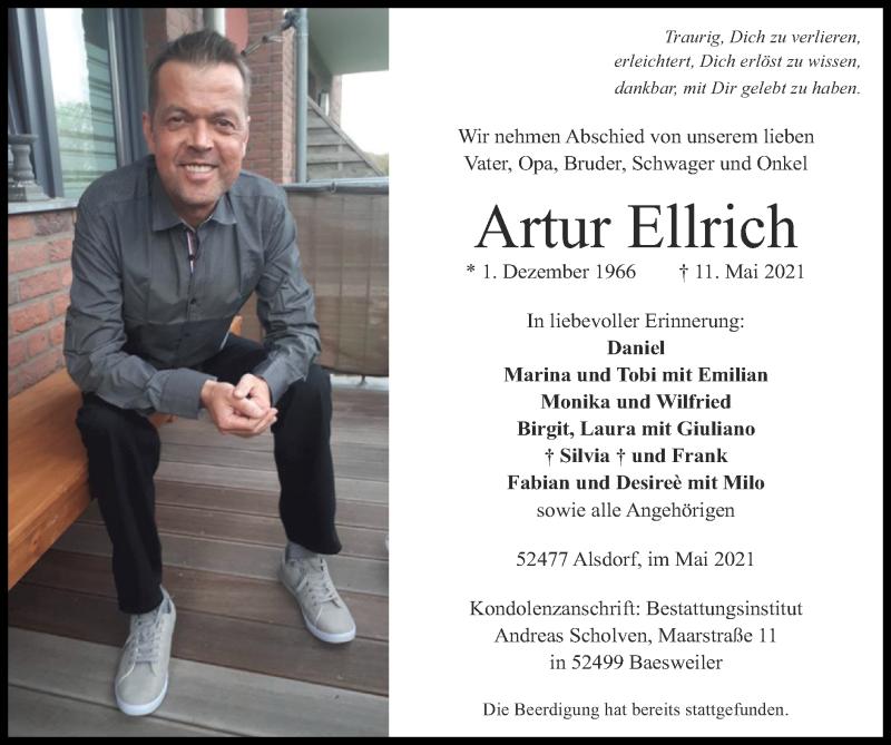 Traueranzeige für Artur Ellrich vom 23.05.2021 aus Zeitung am Sonntag