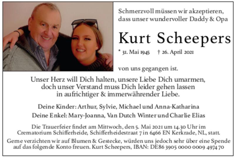 Traueranzeige für Kurt Kornelius Scheepers vom 02.05.2021 aus Zeitung am Sonntag