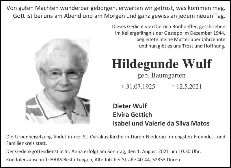 Traueranzeige für Hildegunde Wulf vom 29.05.2021 aus Aachener Zeitung / Aachener Nachrichten