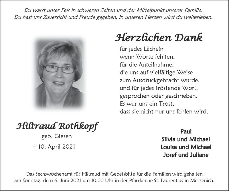 Traueranzeige für Hiltraud Rothkopf vom 30.05.2021 aus Zeitung am Sonntag
