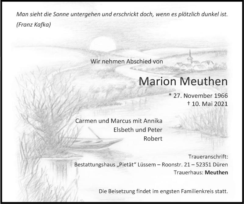Traueranzeige für Marion Meuthen vom 23.05.2021 aus Zeitung am Sonntag