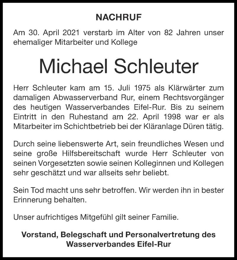 Traueranzeige für Michael Schleuter vom 22.05.2021 aus Aachener Zeitung / Aachener Nachrichten