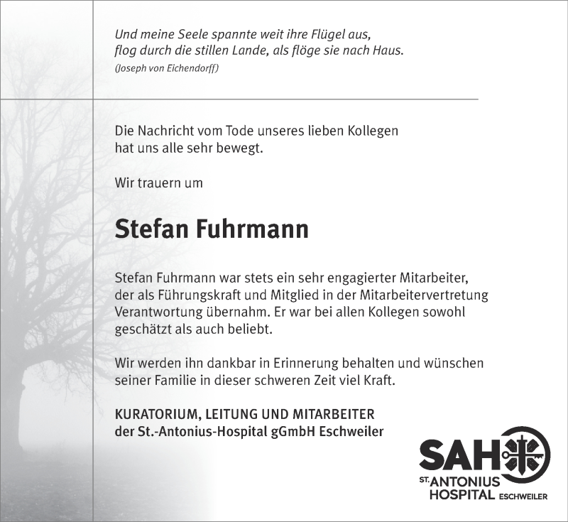 Traueranzeige für Stefan Fuhrmann vom 23.05.2021 aus Zeitung am Sonntag