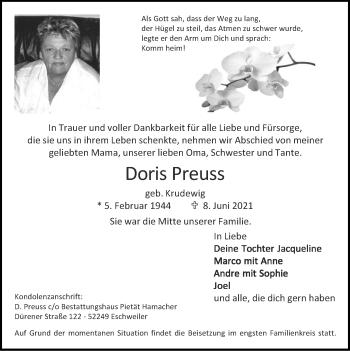 Traueranzeige von Doris Preuss von Zeitung am Sonntag