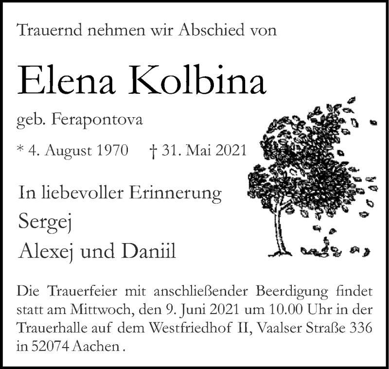 Traueranzeige für Elena Kolbina vom 06.06.2021 aus Zeitung am Sonntag