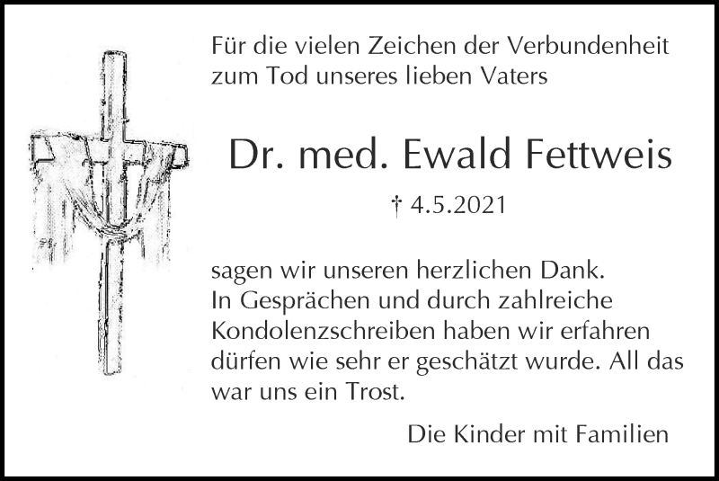 Traueranzeige für Ewald Fettweis vom 13.06.2021 aus Zeitung am Sonntag