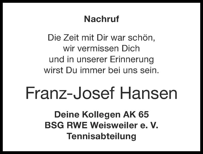 Traueranzeige für Franz-Josef Hansen vom 06.06.2021 aus Zeitung am Sonntag