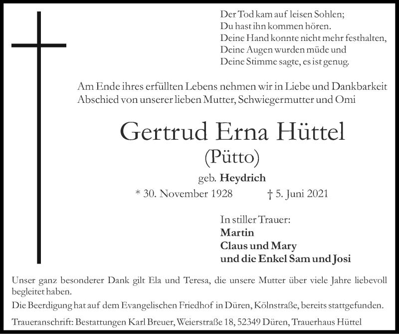 Traueranzeige für Gertrud Erna Hüttel vom 13.06.2021 aus Zeitung am Sonntag