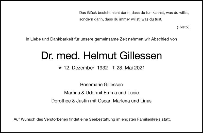 Traueranzeige für Helmut Gillessen vom 06.06.2021 aus Zeitung am Sonntag