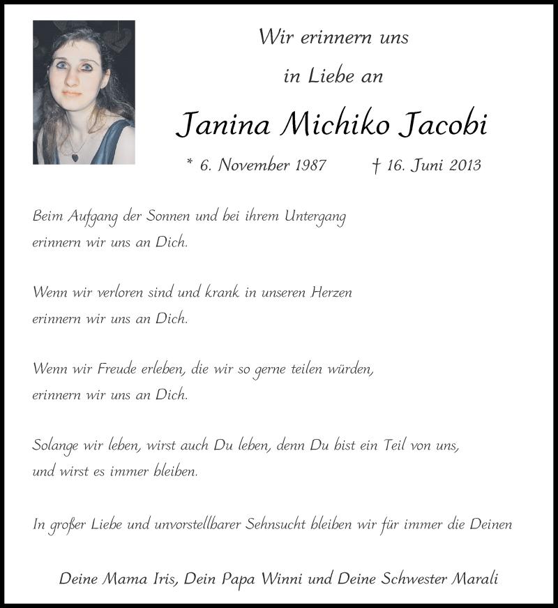 Traueranzeige für Janina Michiko Jacobi vom 12.06.2021 aus Aachener Zeitung / Aachener Nachrichten