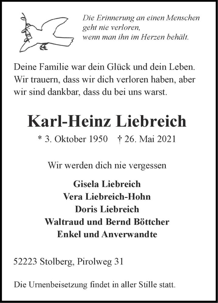 Traueranzeige für Karl-Heinz Liebreich vom 06.06.2021 aus Zeitung am Sonntag
