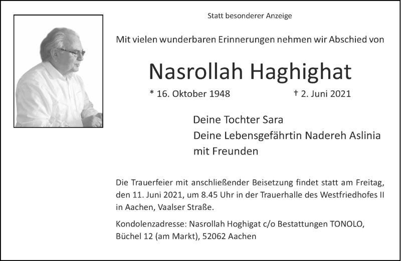 Traueranzeige für Nasrollah Haghighat vom 09.06.2021 aus Aachener Zeitung / Aachener Nachrichten