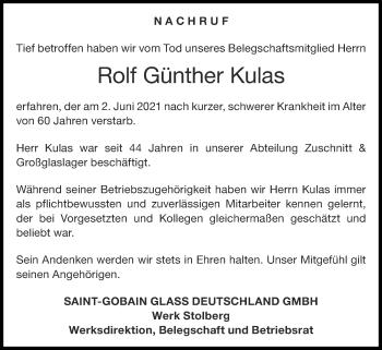 Traueranzeige von Rolf Günther Kulas von Zeitung am Sonntag