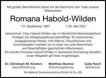 Traueranzeige von Romana Habold-Wilden von Zeitung am Sonntag
