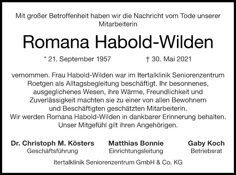 Traueranzeige für Romana Habold-Wilden vom 13.06.2021 aus Zeitung am Sonntag
