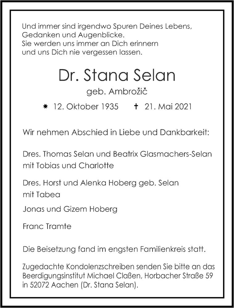 Traueranzeige für Stana Selan vom 05.06.2021 aus Aachener Zeitung / Aachener Nachrichten