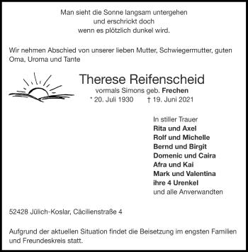Traueranzeige von Therese Reifenscheid von Aachener Zeitung / Aachener Nachrichten