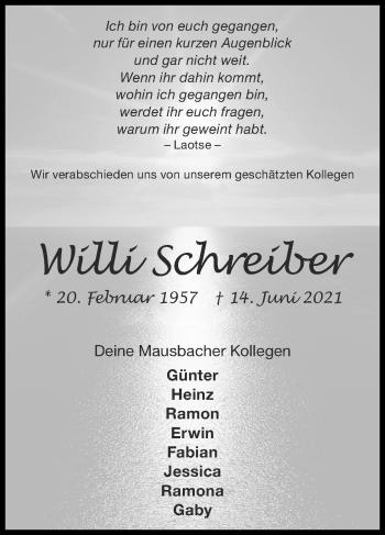 Traueranzeige von Willi Schreiber von Zeitung am Sonntag