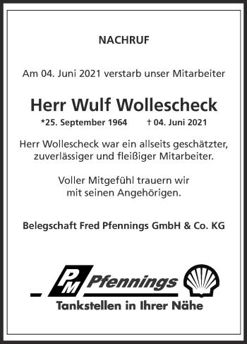 Traueranzeige von Wulf Wollescheck von Zeitung am Sonntag