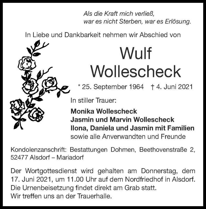Traueranzeige für Wulf Wollescheck vom 13.06.2021 aus Zeitung am Sonntag
