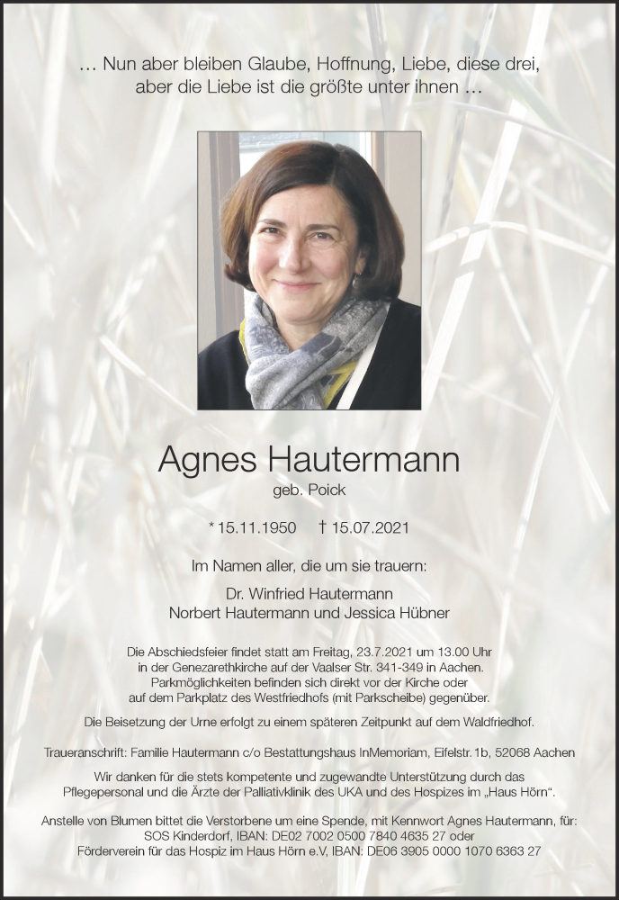 Traueranzeige für Agnes Hautermann vom 17.07.2021 aus Aachener Zeitung / Aachener Nachrichten