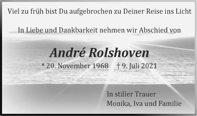 Traueranzeige für André Rolshoven vom 24.07.2021 aus Aachener Zeitung / Aachener Nachrichten