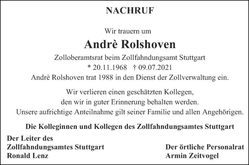 Traueranzeige für André Rolshoven vom 20.07.2021 aus Aachener Zeitung / Aachener Nachrichten
