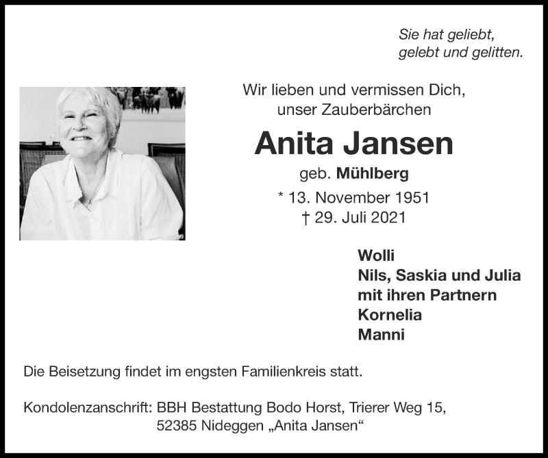 Traueranzeige für Anita Jansen vom 01.08.2021 aus Zeitung am Sonntag