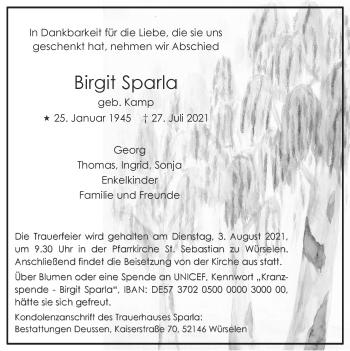 Traueranzeige von Birgit Sparla von Zeitung am Sonntag