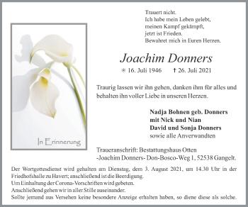 Traueranzeige von Joachim Donners von Zeitung am Sonntag