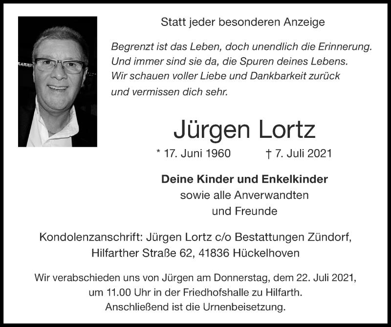 Traueranzeige für Jürgen Lortz vom 18.07.2021 aus Zeitung am Sonntag