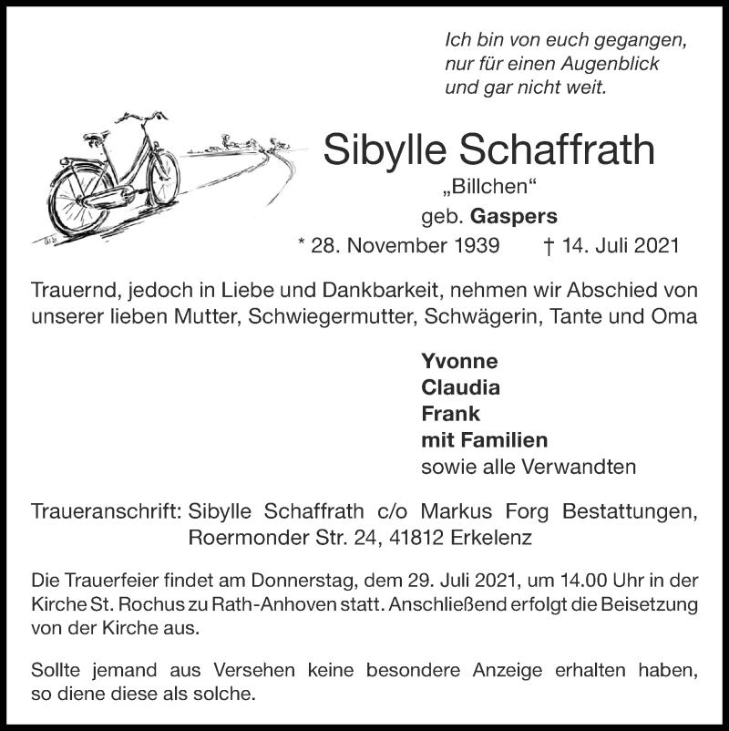Traueranzeige für Sibylle Schaffrath vom 18.07.2021 aus Zeitung am Sonntag