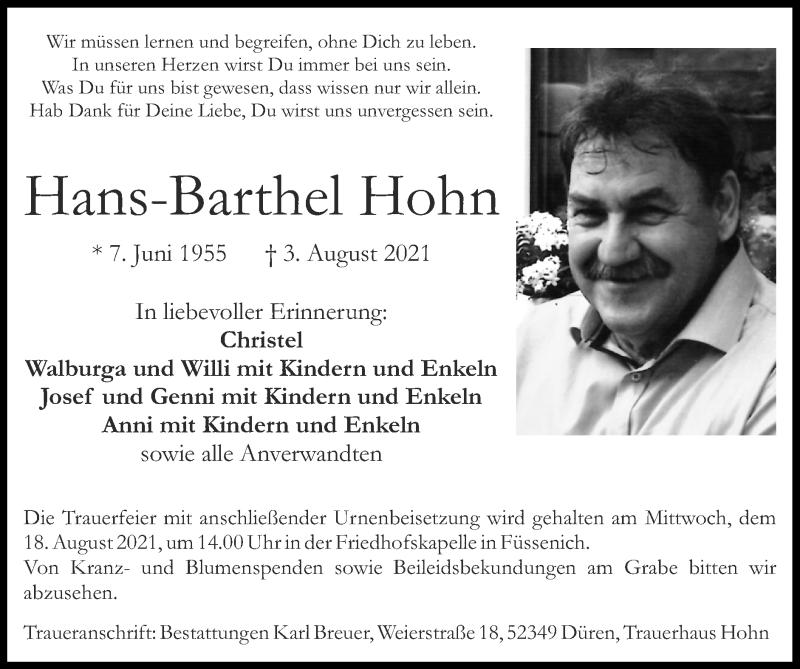 Traueranzeige für Hans-Barthel Hohn vom 15.08.2021 aus Zeitung am Sonntag
