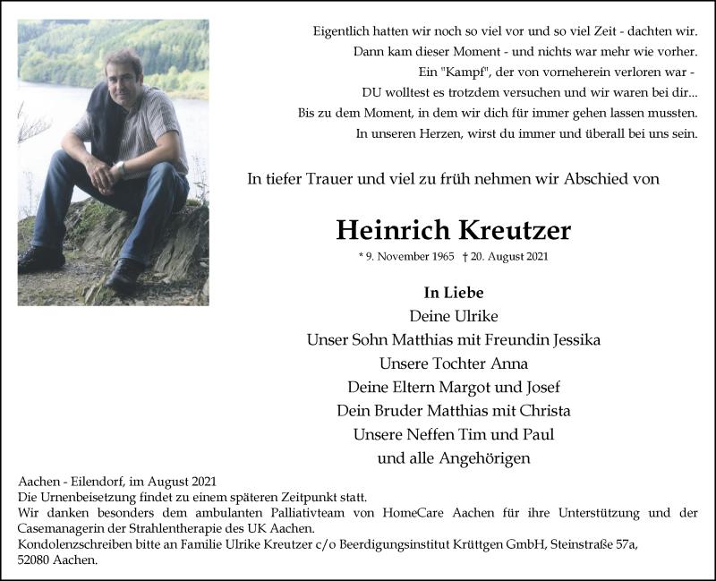 Traueranzeige für Heinrich Kreutzer vom 29.08.2021 aus Zeitung am Sonntag
