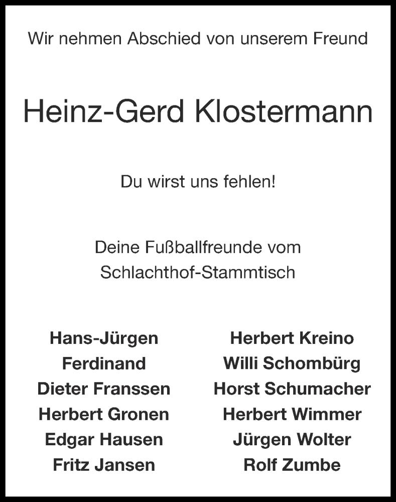 Traueranzeige für Heinz-Gerd Klostermann vom 22.08.2021 aus Zeitung am Sonntag