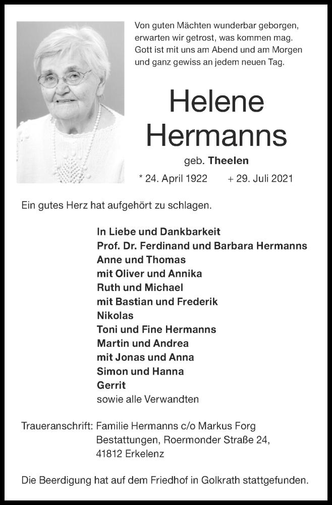 Traueranzeige für Helene Hermanns vom 08.08.2021 aus Zeitung am Sonntag