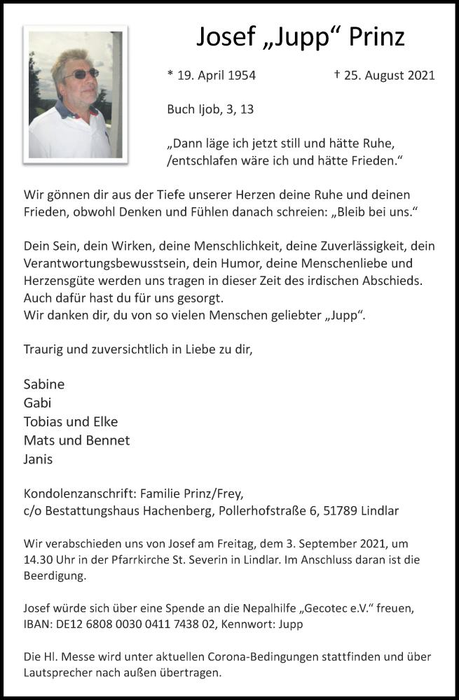 Traueranzeige für Josef Prinz vom 01.09.2021 aus Aachener Zeitung / Aachener Nachrichten
