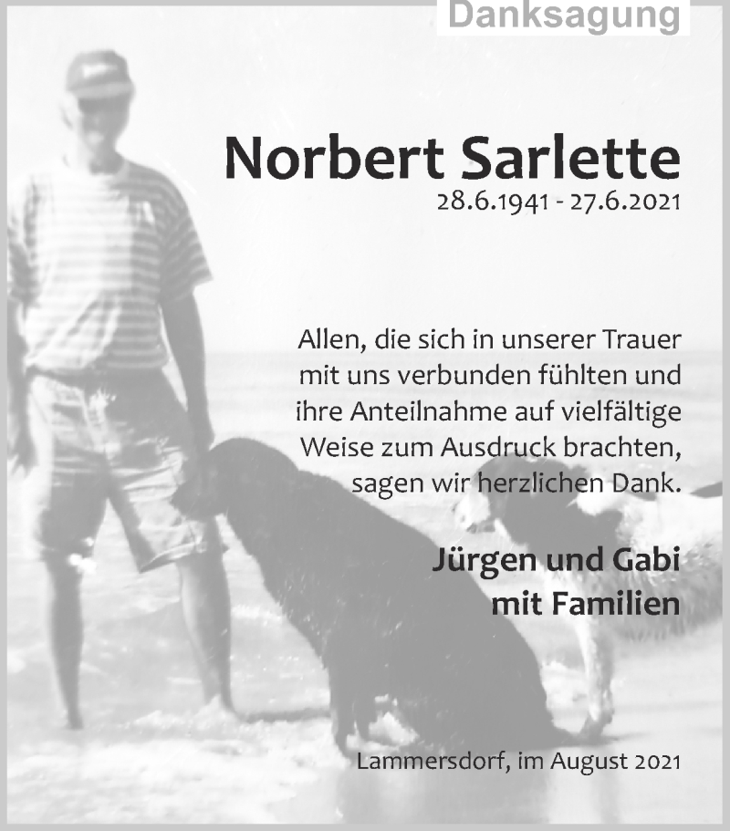 Traueranzeige für Norbert Sarlette vom 15.08.2021 aus Zeitung am Sonntag