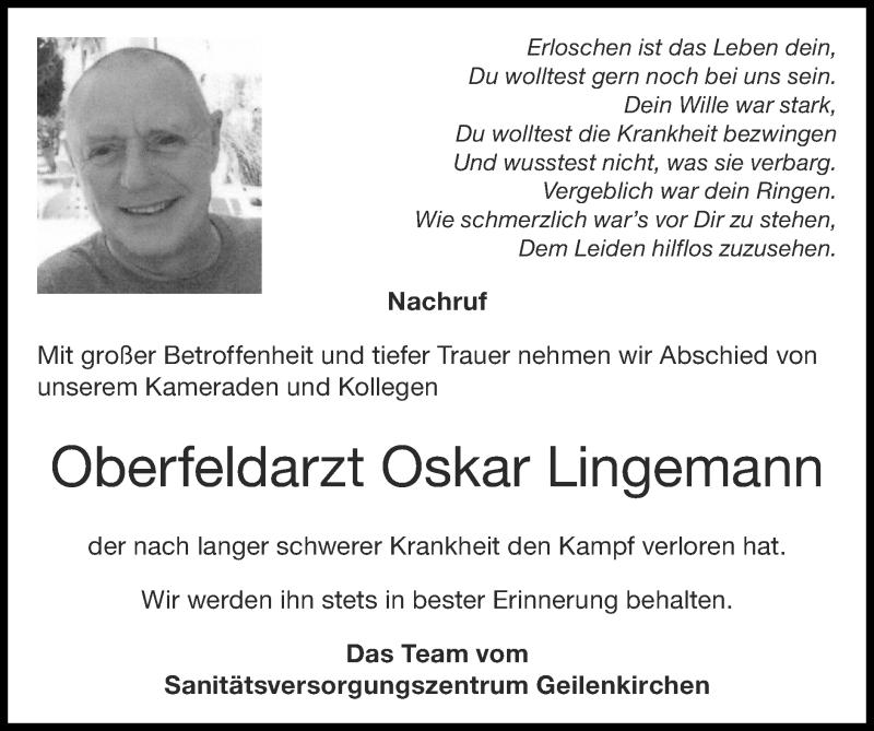 Traueranzeige für Oskar Lingemann vom 15.08.2021 aus Zeitung am Sonntag