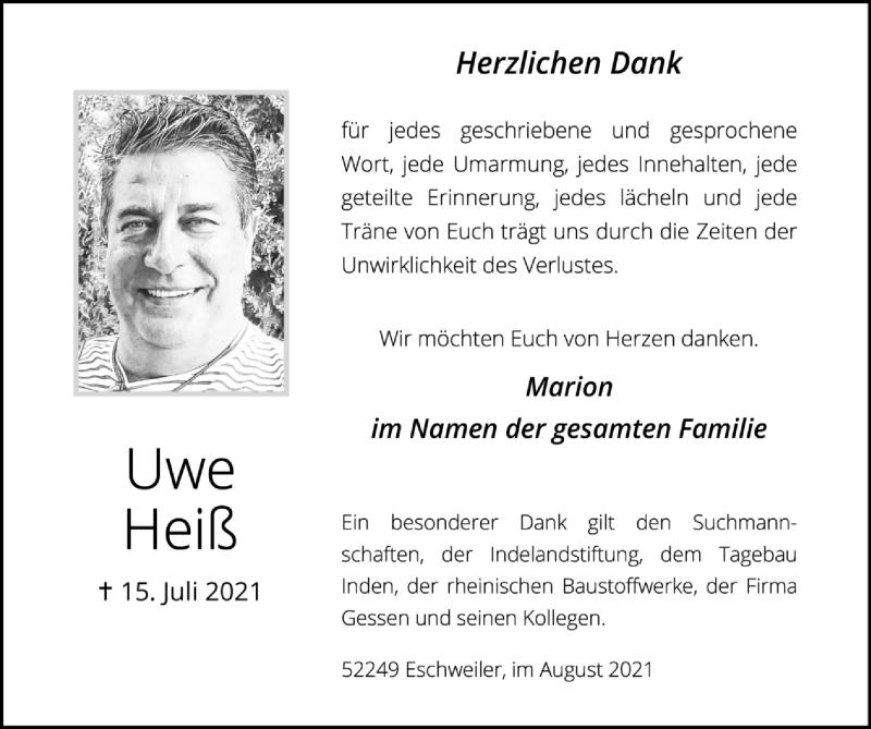 Traueranzeige für Uwe Heiß vom 22.08.2021 aus Zeitung am Sonntag