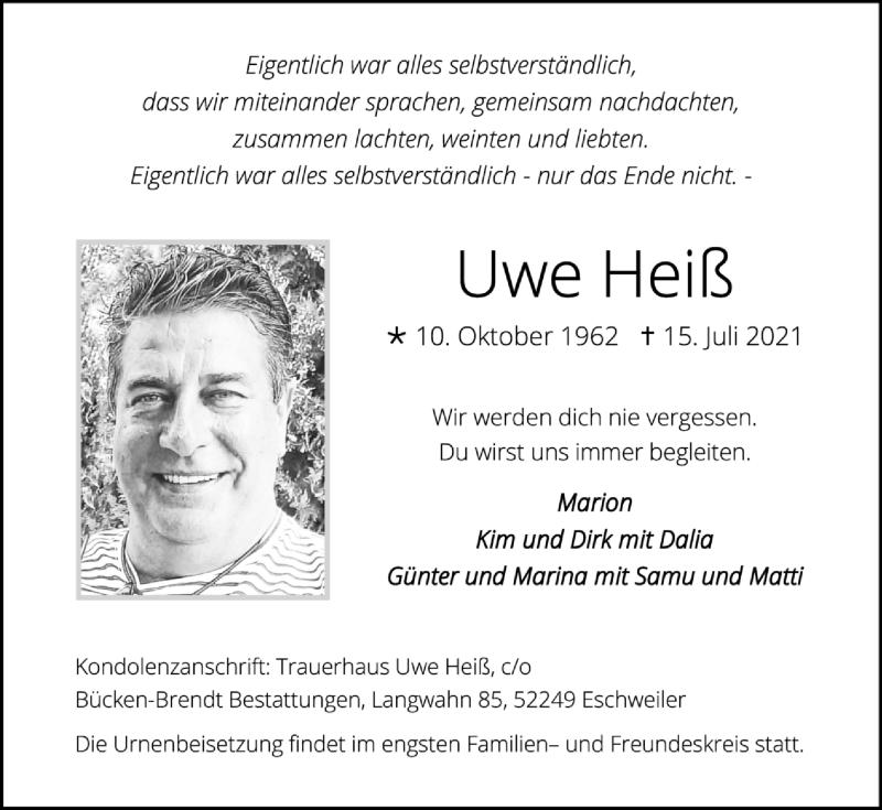 Traueranzeige für Uwe Heiß vom 08.08.2021 aus Zeitung am Sonntag