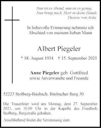 Traueranzeige von Albert Piegeler von Zeitung am Sonntag