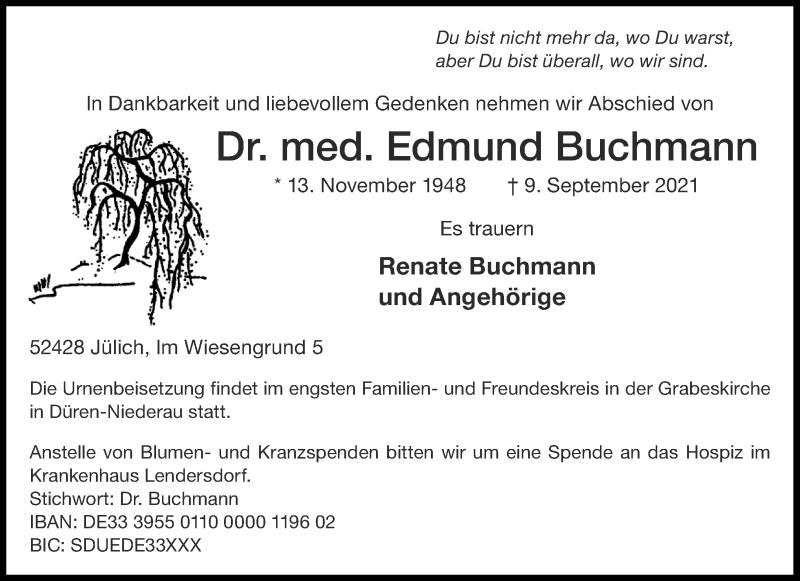 Traueranzeige für Edmund Buchmann vom 15.09.2021 aus Aachener Zeitung / Aachener Nachrichten