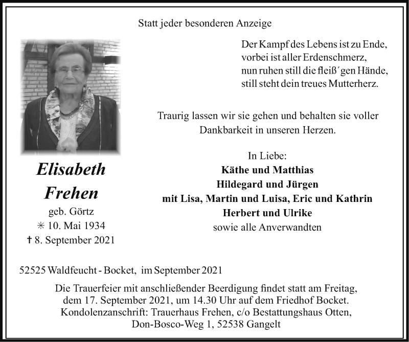 Traueranzeige für Elisabeth Frehen vom 12.09.2021 aus Zeitung am Sonntag