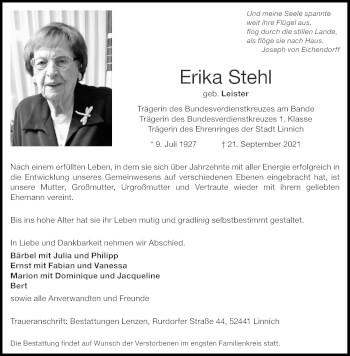 Traueranzeige von Erika Stehl von Aachener Zeitung / Aachener Nachrichten