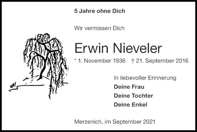 Traueranzeige für Erwin Nieveler vom 19.09.2021 aus Zeitung am Sonntag