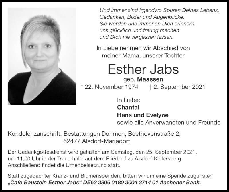 Traueranzeige für Esther Jabs vom 19.09.2021 aus Zeitung am Sonntag