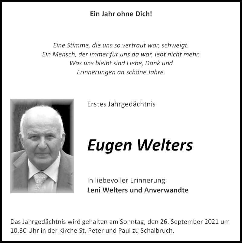 Traueranzeige für Eugen Welters vom 19.09.2021 aus Zeitung am Sonntag