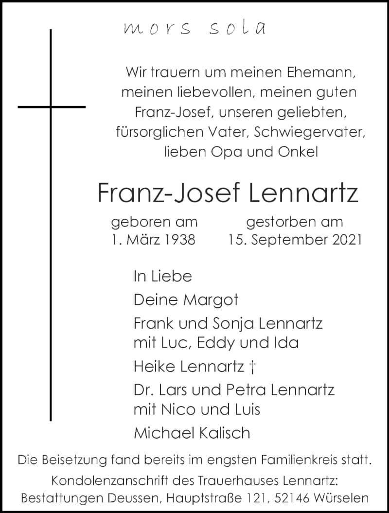 Traueranzeige für Franz-Josef Lennartz vom 25.09.2021 aus Aachener Zeitung / Aachener Nachrichten